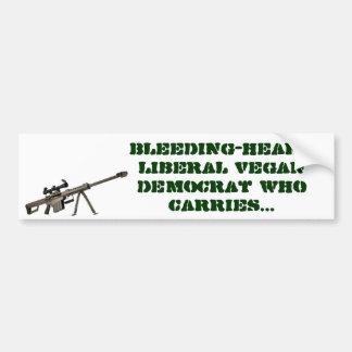 Bleeding-heart liberal vegan democrat who carries bumper sticker