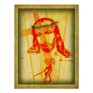 Bleeding Heart of Jesus Painting Poster