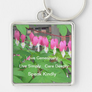Bleeding Hearts Flower Keychain