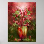 Bleeding Hearts In Heart Vase Art Poster/Print