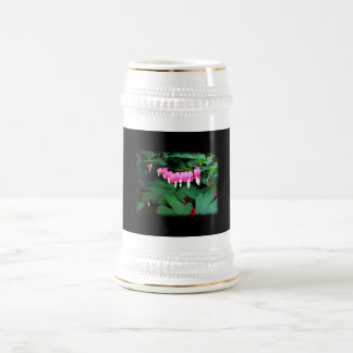 Bleeding Hearts. Pink Flowers. 18 Oz Beer Stein