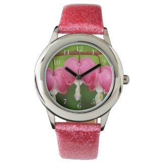 Bleeding Hearts Pink Glitter Kid's Watch