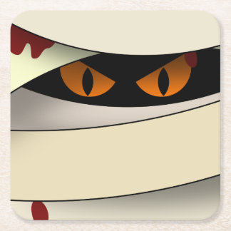 Bleeding Mummy Halloween Square Paper Coaster