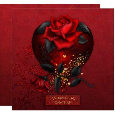 Halloween Themed Bleeding Red Roses Black Leaves Gold Wedding | Card