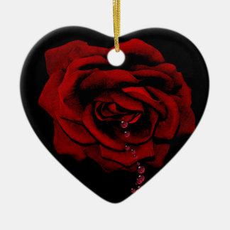 Bleeding Rose Ceramic Ornament
