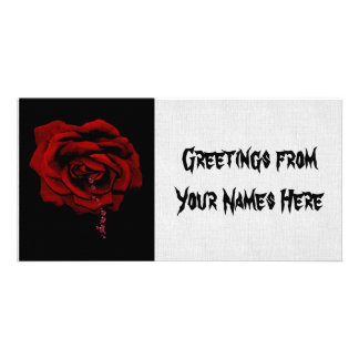 Bleeding Rose Custom Photo Card