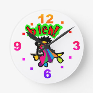 bleh vomiting cartoon wall clock