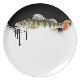 Blended Black to White Fish Design Dinner Plate