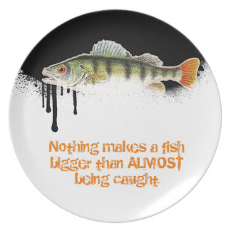 Blended Black to White Fish Design with fun Quote Melamine Plate