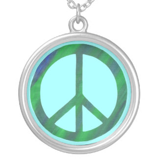 Blended blue and green Peace Sign Necklace