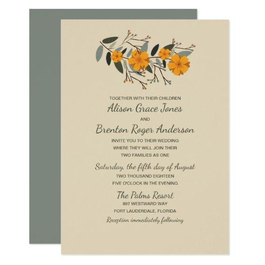 Blended Families Beige Floral Wedding Invitation