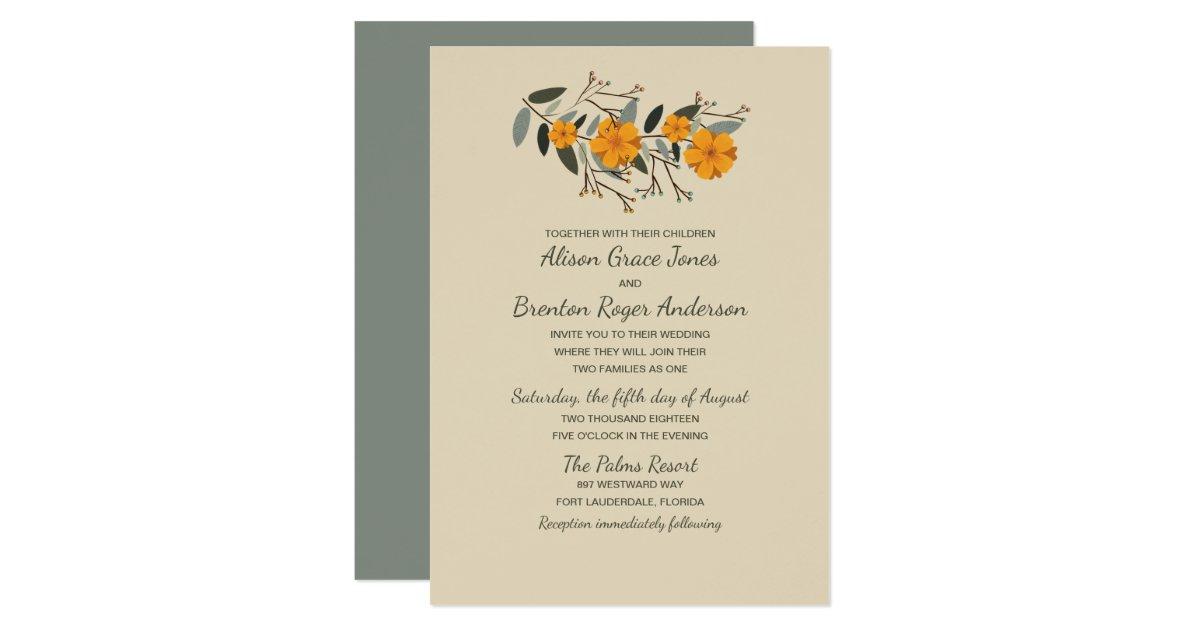 Blended Family Wedding Invitations: Blended Families Beige Floral Wedding Invitation