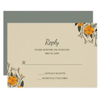 Blended Families Beige Floral Wedding RSVP Card