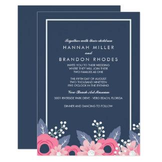 Blended Families Brilliant Blue Floral Wedding Card