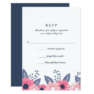 Blended Families Brilliant Blue Wedding RSVP Card