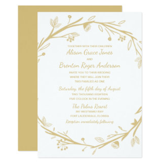 Blended Families Gold Wreath Wedding Invitation