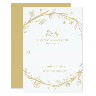 Blended Families Gold Wreath Wedding RSVP Card