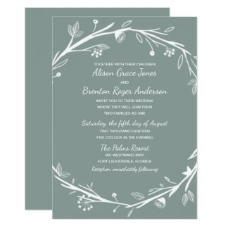 Blended Families Green Wreath Wedding Invitation