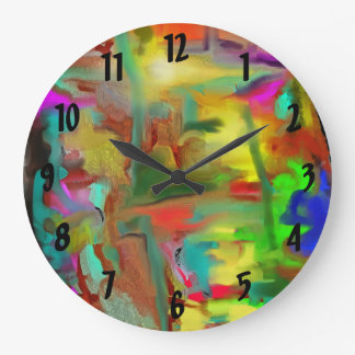 Blending Colors Digital Abstract w Numbers Round Clock