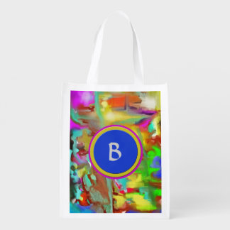 Blending Colors - Personalized with Your Initial Grocery Bag