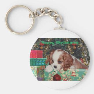 Blenheim Christmas Puppy Keychain