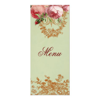 Blenheim Rose- Elegant Sage Green Menu Card