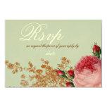 Blenheim Rose- Elegant Sage Green RSVP Card