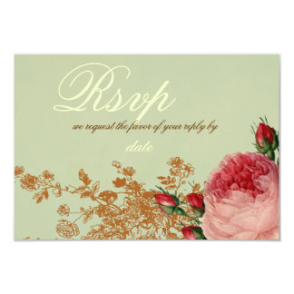 Blenheim Rose- Elegant Sage Green RSVP Card