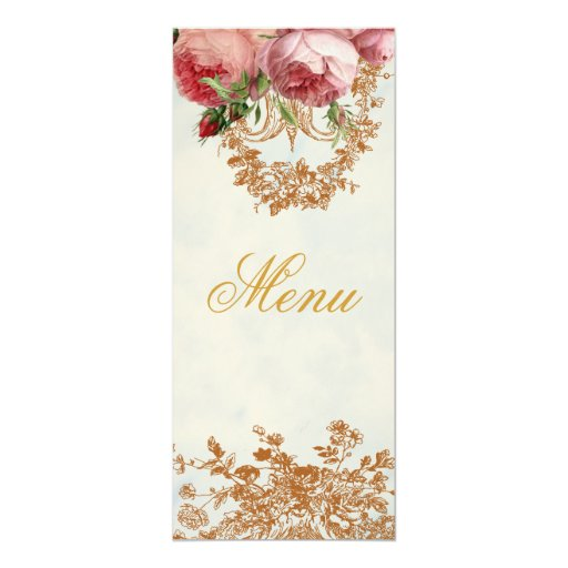 Blenheim Rose - Summer Sky - Menu 4x9.25 Paper Invitation Card