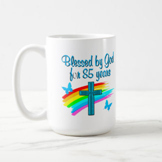 BLESS BY GOD FOR 85 YEARS BLUE CROSS DESIGN COFFEE MUG