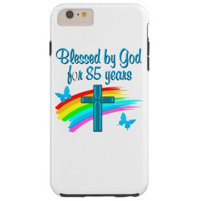 BLESS BY GOD FOR 85 YEARS BLUE CROSS DESIGN TOUGH iPhone 6 PLUS CASE