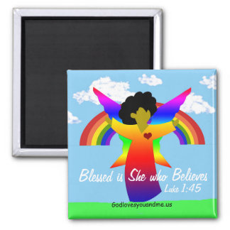 Bless is She who Believes Angel magnet