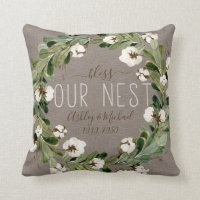 Bless Nest Cotton Wreath Photo Wedding Keepsake Throw Pillow