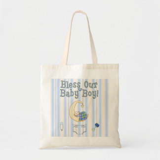 Bless Our Baby Boy Theme Moon Star Diaper Tote Bag