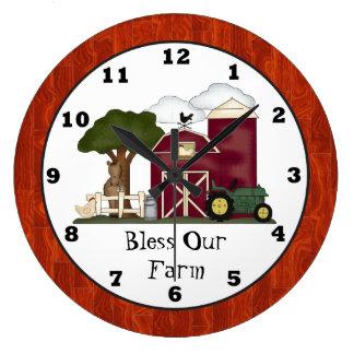 Bless Our Farm wall clock