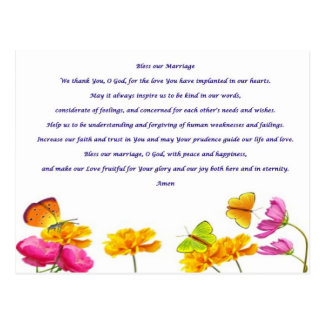 Bless our Marriage prayer Post Card