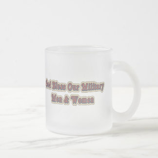 Bless Our Military Soldiers 10 Oz Frosted Glass Coffee Mug