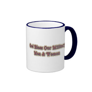 Bless Our Military Soldiers Ringer Coffee Mug