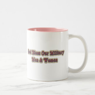 Bless Our Military Soldiers Two-Tone Coffee Mug