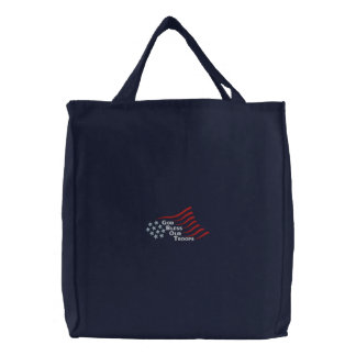 Bless Our Troops Embroidered Tote Bag