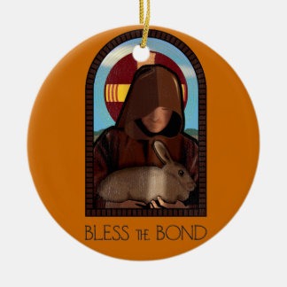 BLESS THE BOND Double-Sided CERAMIC ROUND CHRISTMAS ORNAMENT