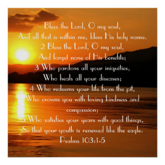 Bless the Lord Bible Verse Sunset Poster