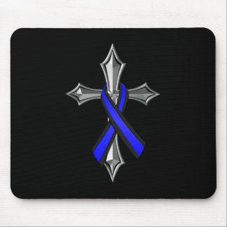 Bless The Thin Blue Line Ribbon and Cross Mouse Pad
