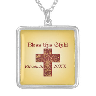 Bless This Child Square Pendant Necklace