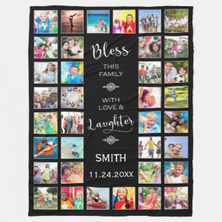 Bless this Family with love 32 Photo Collage Fleece Blanket