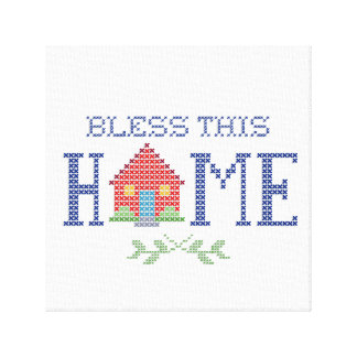 Bless This Home Cross Stitch Embroidery Canvas Print