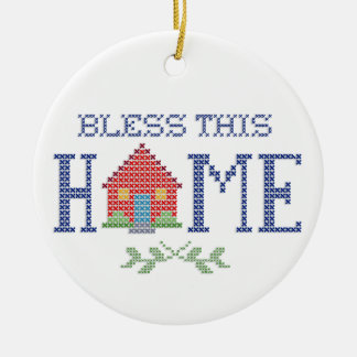 Bless This Home Cross Stitch Embroidery Ceramic Ornament