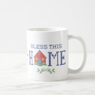 Bless This Home Cross Stitch Embroidery Classic White Coffee Mug