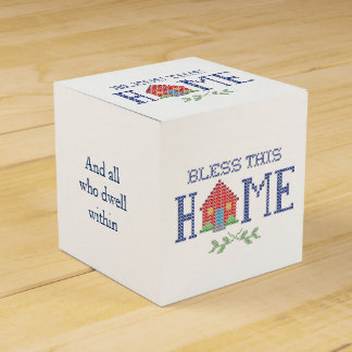 Bless This Home Cross Stitch Embroidery Favor Box