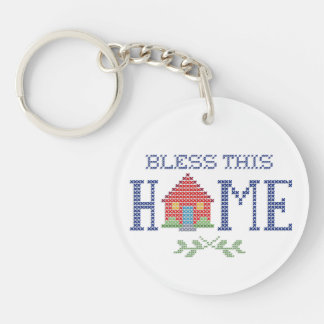 Bless This Home Cross Stitch Embroidery Double-Sided Round Acrylic Keychain